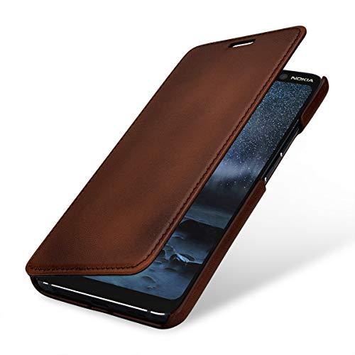 StilGut Lederhülle kompatibel mit Nokia 9 PureView Book Type, braun antik