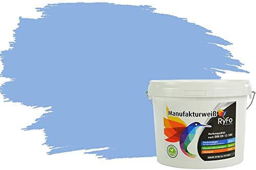 RyFo Colors Bunte Wandfarbe Manufakturweiß Meerwasserblau 3l - weitere Blau Farbtöne und Größen erhältlich, Deckkraft Klasse 1, Nassabrieb Klasse 1