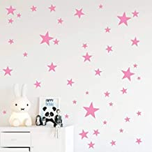 Baby Pink 170pcs Mix+3-4-5-7-9-19cm+Easy to Peel Easy to Stick Baby Pink Stars Mix Removable Wall Decals for Kids Room Decoration Etoile Vinly Luxury Decor by BUGYBAGY