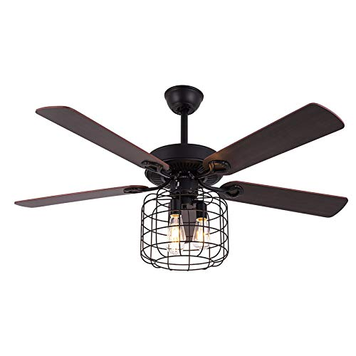 Indoor Retro Industrial Ceiling Fan with Light 5 Wood Reversible Blade Chandelier Fan Remote Control Iron Cage Pendant Light Fan for Living Room (3 lights)