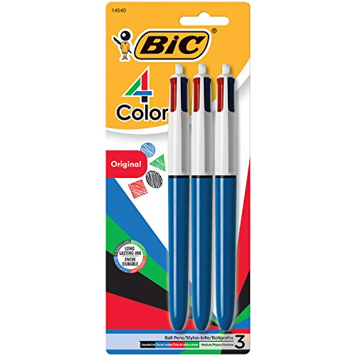 BIC 4-Color Ballpoint Pen, Medium Point (1.0mm), Assorted Inks, 3-Count, For Organizing and Color-Coding Copy