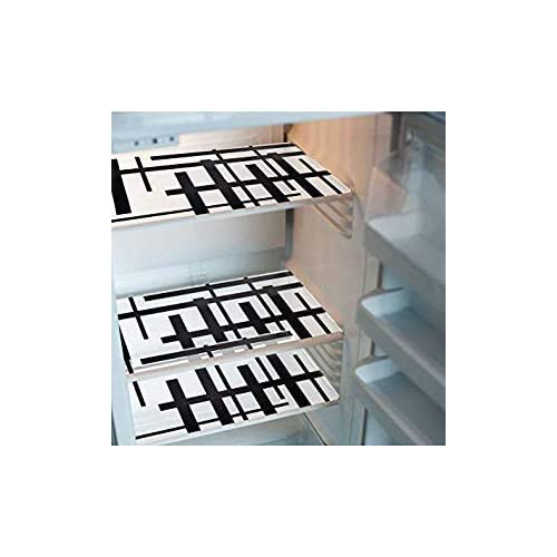 KHUSHI CREATION™ Set of 6 PVC Classic Black & White Piano Design Refrigerator Drawer MAT Fridge MAT
