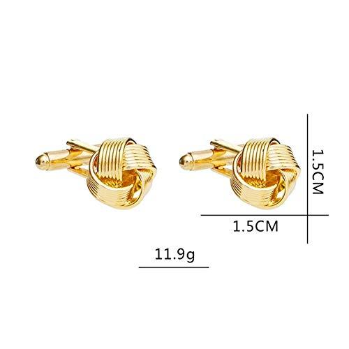 GQDZ Knoten Manschettenknöpfe for Männer Hemd-Manschettenknöpfe Gold-Silber überzogenen Geschäft Hochzeit Grooms Hemd-Marken-Manschettenknöpfe Manschettenknöpfe (Metal Color : Gold)