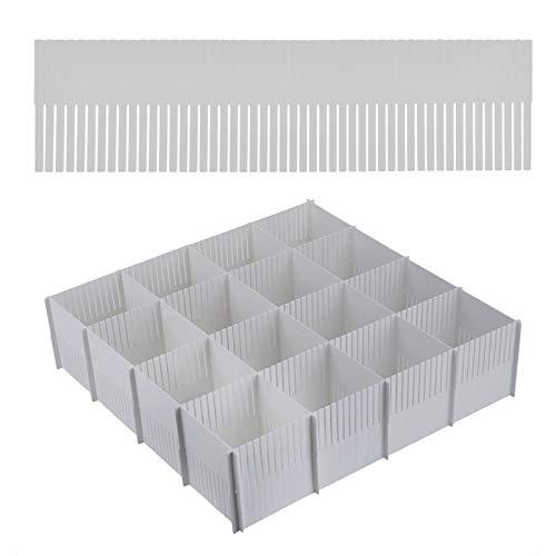 Elinala Separador Cajones, Organizador Cajones, Divisor de Cajón de Rejilla Ajustable de Plástico DIY de 10 Piezas para Almacenamiento y Clasificación (Gris, Altura 11 CM)