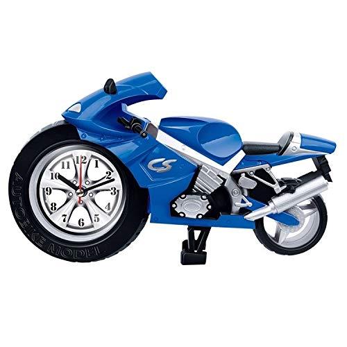 Klok radio alarm nachtkastje Creatieve Artistieke Motorfiets Alarm Klok Bureau Klok Model voor Huishoudelijke Plank Decoraties (Blauw) Precieze timing