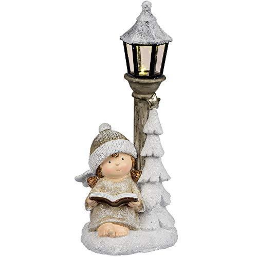 Formano Deko Engel aus Kunststein mit Laterne und LED-Licht, 31cm, creme-weiß, 1 Stück