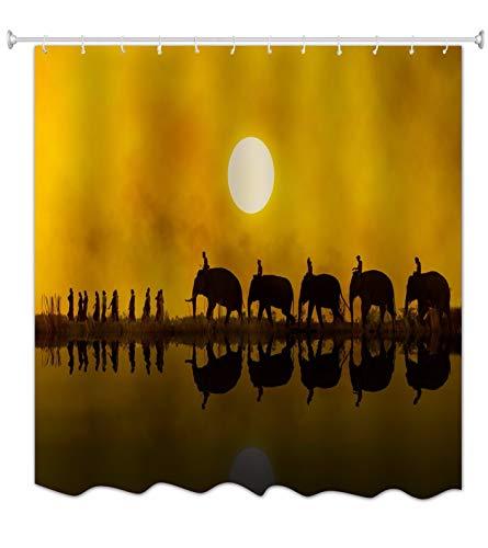 A.Monamour Brauner Ton Hintergründe R&en Mond Im Himmel Bei Einbruch Der Dämmerung Afrikanischen Elefanten Reflexion In See Wasser Wasser Seife Mehltau Resistent Stoff Duschvorhang 180X200 cm
