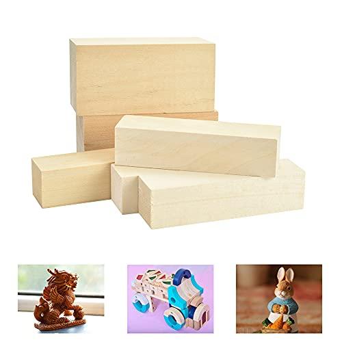 FAVENGO 6 Stück Lindenholz Schnitze Schnitzholz Natürlich Rohlinge Balsaholz zum Schnitzen Holzblöcke Unbehandelt Schnitzblock Schnitzrohlinge für Kinder Erwachsene DIY Handwerk 10x2,5x2,5cm&10x5x5cm