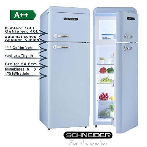 Schneider Retro Kühl-Gefrierkombination 206Liter A++ 55cm Breit SDD 208 Kühlschrank automatisches Abtauen (Hellblau glanz)