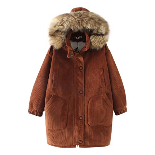 Plot Damen Winterjacke mit Pelzkapuze Parka Jacken Herbst Winter Gefüttert Cord Winterparka Wintermantel Windbreaker Lang Outwear Coat