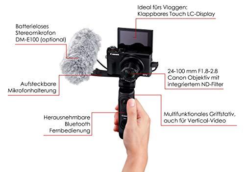Canon PowerShot Kamera G7X Mark III Vlogging Kit Premium inkl. Griffstativ + Fernsteuerung + 64 GB SD Karte (20,1 MP, klappbares LC-Display, 4K Video, 4,2 fach Zoomobjektiv, F1.8-2.8), schwarz