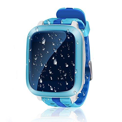 Reloj inteligente para niños con rastreador GPS, resistente al agua, reloj inteligente para niños y niñas, ideal como regalo para iOS y Android, azul