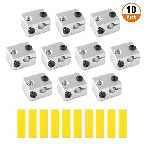 3D Drucker Heizblock 10Pcs Aluminium Heizblock V6 Extruder Zubehör mit 10pcs Baumwolle Isolierung für MK7 MK8 Extruder 3D Drucker Hotend