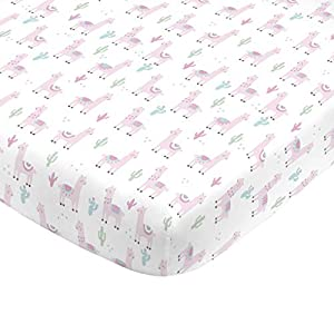 crib bedding and baby bedding nojo super soft pink llama nursery mini crib fitted sheet, pink, white, green
