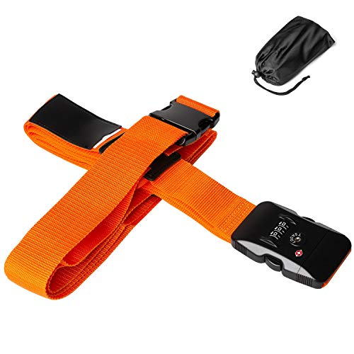 Yisiga スーツケース ベルト スーツケース タグ TSAロック 荷物ストラップ 固定ベルト 調整可能 ネームタグ 盗難防止 十字型 ロック搭載ベルト ワンタッチベルト 旅行用品 (ロック付き-オレンジ)