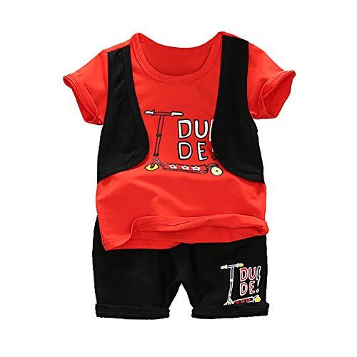 Gyratedream Baby Jongens Kleding Set Voor 0-4 Jaar, Zomer Baby Jongens Korte Mouw Letter Print Tops Blouse T-shirt+Shorts Kinderen Casual Outfits Sets, 3-4 Years, Rood