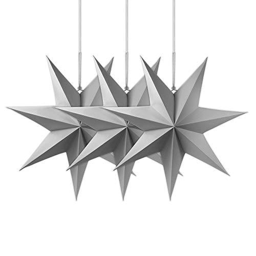 Frau WUNDERVoll® liebevolle Faltsterne grau 3 Stück Durchmesser 25 cm 7 Zacken geschlossene Oberfläche Feste Pappe
