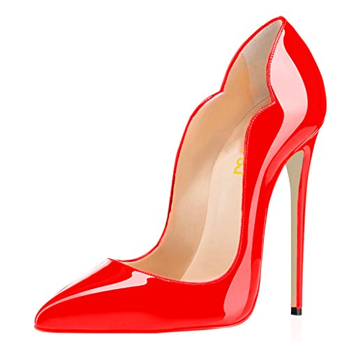 FSJ Women Classic Pointed Toe High Heels Sexy Stiletto Pumps Office Lady Dress Shoes Size 8 Red