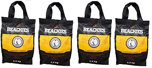 BlackSellig 10 kg Beachies (4 x 2,5 kg) Kokos Grill Briketts Reine Kokosnussschalen Grillkohle - perfekte Profiqualität - für den Short Job