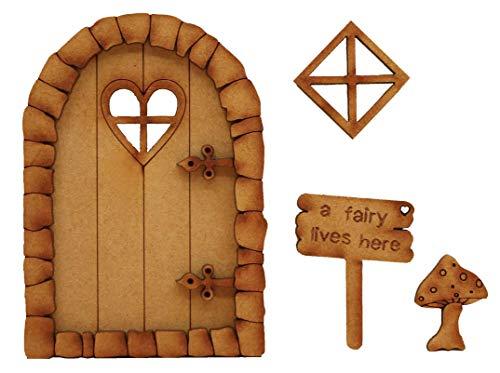 Pebble Cœur Porte de fée. trois Dimensions à assembler en bois porte de fée Craft Kit avec fenêtre de fée, Champignon et fée Sign