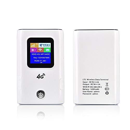 Mobiler WLAN Router, 5200mAH Portable Power Bank und 150Mbps cat4 Portable 3G 4G Wireless Router Mobiler WiFi-Hotspot mit SIM-Kartensteckplatz
