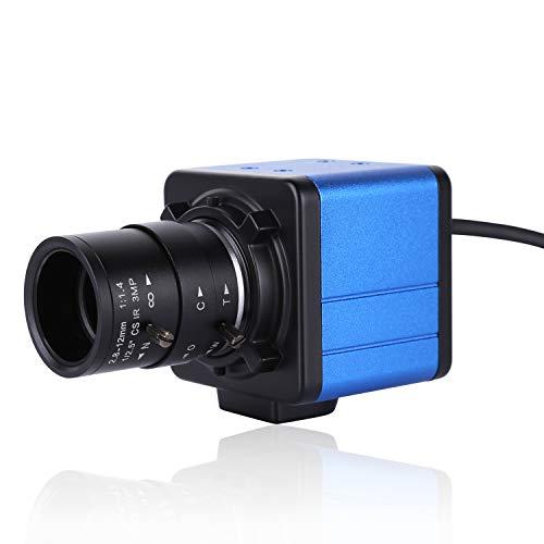 Aibecy 1080P HD Cámara de la computadora Cámara web 2 megapíxeles Zoom óptico de 5X Visión amplia de 155 grados Enfoque manual Compensación de exposición automática con micrófono USB Plug & Play