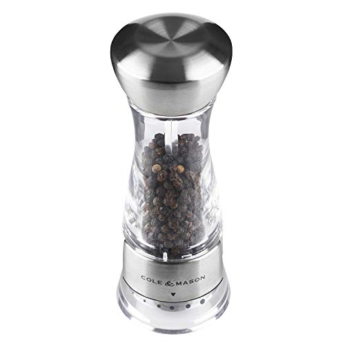 Cole & Mason Gourmet Precision Windermere Pepper Mill, Stainless Steel and Acrylic 16.5 cm