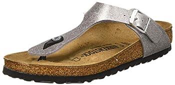 Birkenstock Women s Tongs Gizeh Birko-Flor Glitter Silver Sandal 7