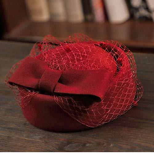 LXQ Pilulier Head Wear Mesdames diadème de mariée Maille Beret Mariage Ocktail Tea Party Bow pour Les Femmes,6