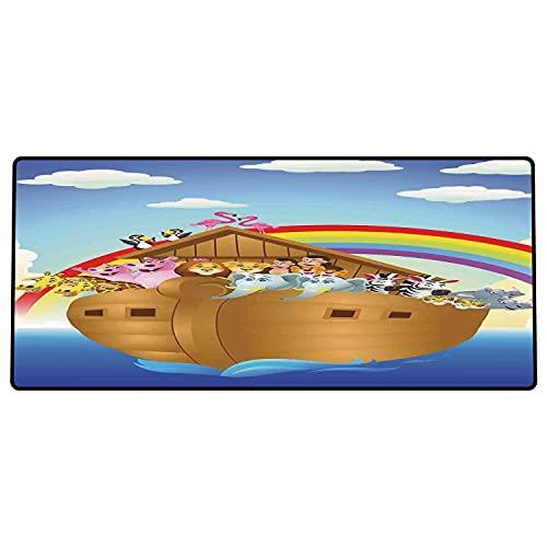 Alfombrilla de ratón para Juegos 600 x 300x3 mm,Arca de Noé, Animales Lindos en el Arca de Noé Navegando en el mar Barco Old Story Poniente Sol A Base de Goma Antideslizante, Adecuada para Jugadores