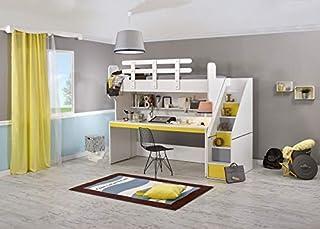 Cilek Star - Puzle de cama alta con escritorio, colchón amarillo y colchón de 90 x 200 cm