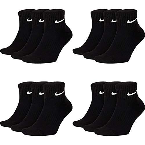 Nike 12 Paar Herren Damen Kurze Socke Knöchelhoch Weiß Schwarz Sparset SX7667 Sportsocken Größe 34 36 38 40 42 44 46 48 50, Größe:42-46, Sockenfarbe:12 Paar schwarz