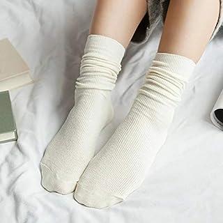 Calcetín de algodón para Mujer Calcetines Altos Sólidos Colores sólidos Agujas Dobles Calcetines Largos de algodón para Tejer Mujeres