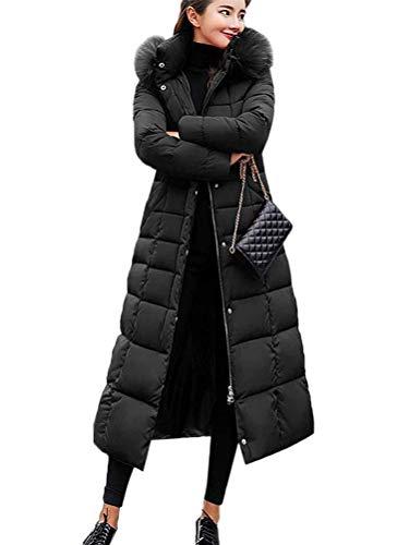 OranDesigne Warm Winterjacke Damen Wintermantel Lange Winter Jacke Parka Mantel Hooded Langarm Winterparka C Schwarz M