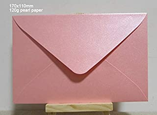 50pcs Pink Color Gift Envelopes, Embossed/Pearl Specialty Paper (Color : 170x110mm)