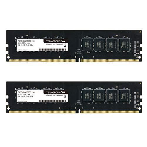 TEAMGROUP Elite DDR4 16GB Kit (2 x 8GB) 2666MHz PC4-21300 CL19 Unbuffered Non-ECC 1.2V UDIMM 288 Pin PC Computer Desktop Memory Module Ram Upgrade - TED416G2666C19DC01-16GB Kit (2 x 8GB)