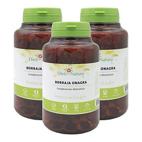 Pack de 3 botes de Borraja Onagra 200 perlas de Dieti Natura. [Garantía sin OGM ni Gluten][Certificado ecológico FR-BIO-01][Fabricado en Francia] (3x 200 perlas)