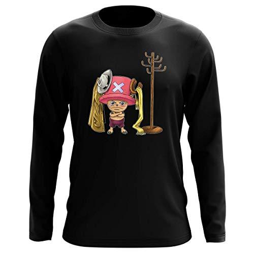 T-Shirt Manches Longues Noir Parodie One Piece - Tony Tony Chopper - Un Pirate complètement cintré. : (T-Shirt de qualité Premium de Taille L - imprimé en France)
