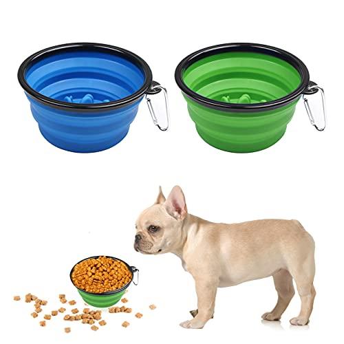 Ciotola da viaggio per cani e animali domestici, 2 ciotole da viaggio per cani, in silicone, pieghevole, con moschettone, per gatti, cani, escursioni, campeggio, blu e verde