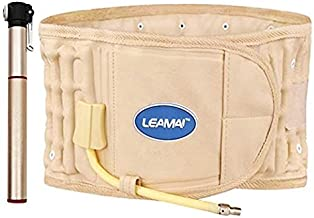 DUORUI Physio Decompression Back Belt Back Brace Back Pain Lower Lumbar Support Back Massage, one Size for 29inches to 51 inches Waists (Beige)