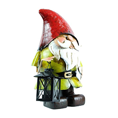 XFORT Garden Gnome With Candle Lantern, Metal Sculpture, Hand Crafted Hand Painted Weatherproof Garden Decoration, Garden Statue With Lantern For Use As Garden Ornament or Home Décor