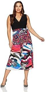 Star Vixen womens Solid Surplice Top Maxi W Tie-waist Print Skirt Dress