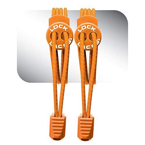 LOCK LACES (Elastic No Tie Shoelaces) (Orange, 48-Inch)