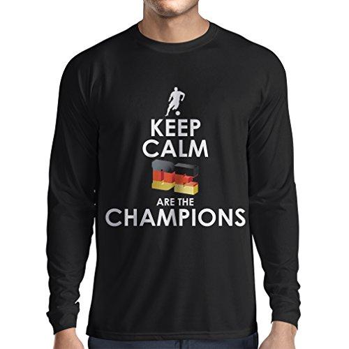 Camiseta de Manga Larga para Hombre Los alemanes Son los campeones - Campeonato de Rusia 2018, Copa Mundial de fútbol, Equipo de la Camiseta del Ventilador de Alemania (Large Negro Multicolor)