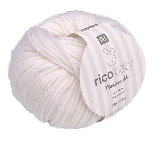 Rico Baby Merino dk 001-weiß Babywolle Merinowolle extrafine superwash Wolle zum Babysachen stricken & häkeln