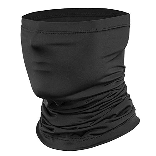 Seamless Face Cover Bandanas Neck Gaiter,Dust & UV Sun-Protection for Festivals and Outdoors by AZ-ONANZO Black