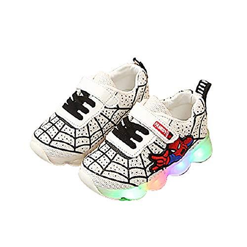 Zapatillas de deporte con luz LED para niños, niñas, informales, ligeras, para correr (tamaño 27 UE, color: blanco)