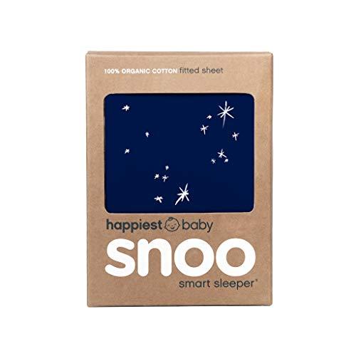 Happiest Baby SNOO Bassinet Fitted Sheet - 100% Organic Cotton Nursery Bedding - Fits SNOO Sleeper Crib Mattress (Midnight Galaxy)