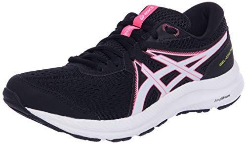 Asics Gel-Contend 7, Road Running Shoe Mujer, Black/Hot Pink, 37.5 EU
