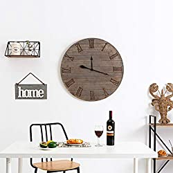 Large Wall Clock Silent Decor, 32 Inches Round Wooden Wall Clocks with Roman Numerals for Living Room Home Office Kitchen